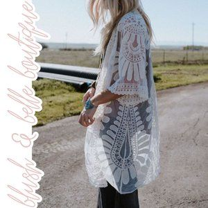 LUCY Bohemian Lace Embroidered Kimono in Ivory